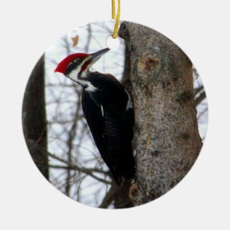 Pileated Woodpecker Double-Sided Ceramic Round Christmas Ornament