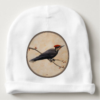Pileated Woodpecker Perched on Tree Branch Baby Beanie