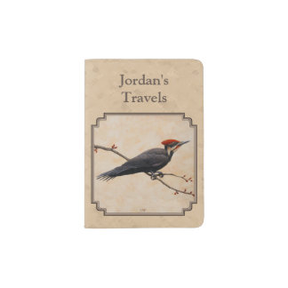 Pileated Woodpecker Tan Passport Holder