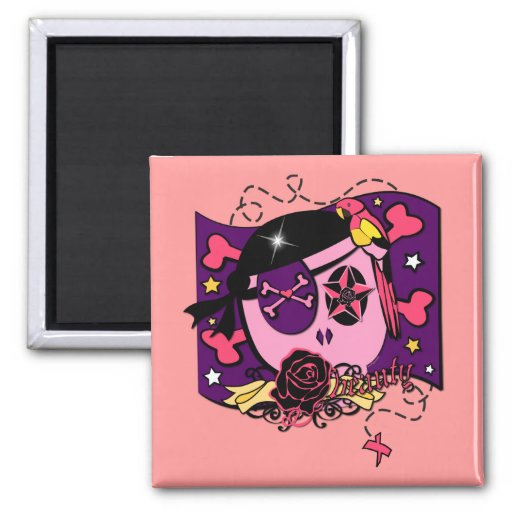 Pilfering in Pink 2 Inch Square Magnet