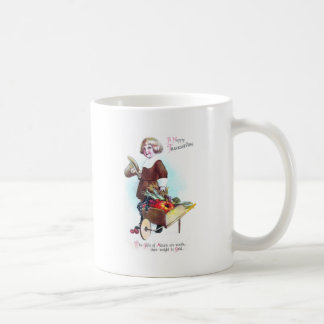 Pilgrim Boy and Wheelbarrow of Fruits & Veggies Coffee Mug