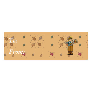 pilgrim boy with turkey Double-Sided mini business cards (Pack of 20)