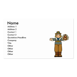 pilgrim boy with turkey Double-Sided standard business cards (Pack of 100)