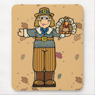 pilgrim boy with turkey mouse pad