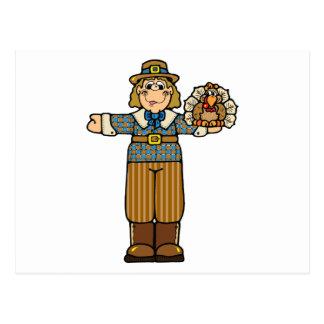 pilgrim boy with turkey postcard