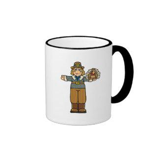pilgrim boy with turkey ringer coffee mug