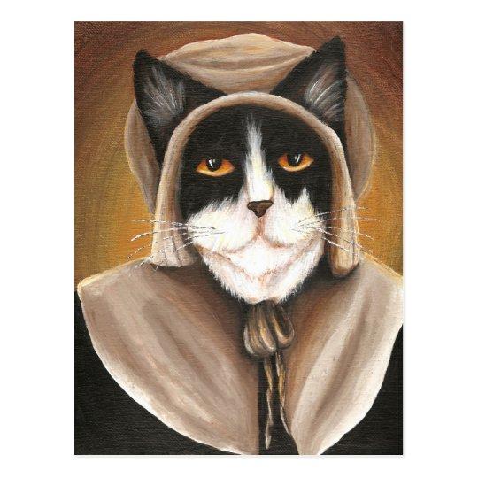 pilgrim cat dressed in colonial puritan clothes postcard