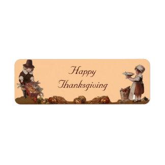 Pilgrim Children Happy Thanksgiving Label