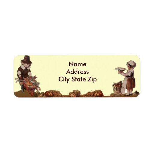 Pilgrim Children Vintage Thanksgiving Custom Return Address Label