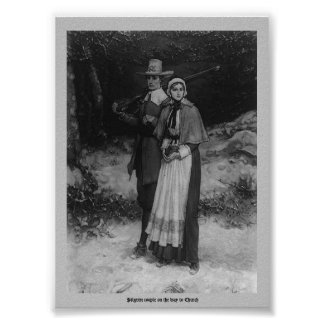 Pilgrim couple on the way to Church Poster