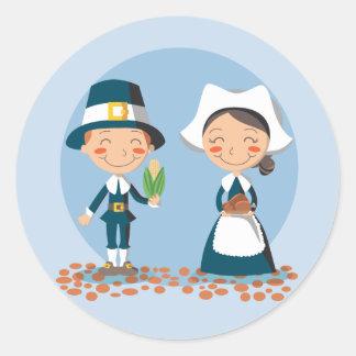 Pilgrim Couple Stickers