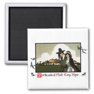 Pilgrim Couple Vintage New Year's Day 2 Inch Square Magnet