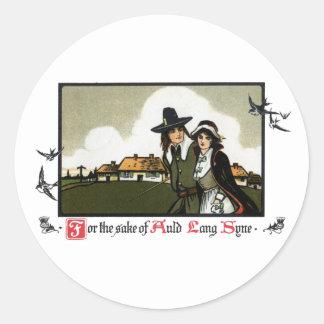 Pilgrim Couple Vintage New Year's Day Round Sticker