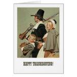 Pilgrim Family. Thanksgiving Greeting Cards