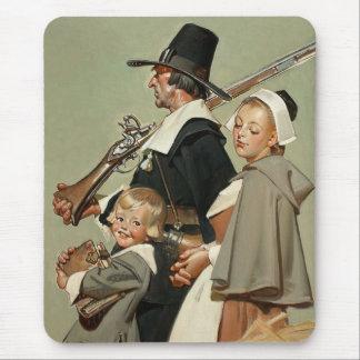 Pilgrim Family. Vintage Art Gift Mousepad