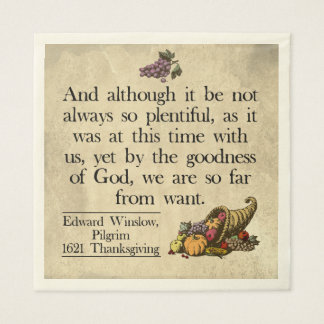Pilgrim First Thanksgiving Acknowledgement Napkin