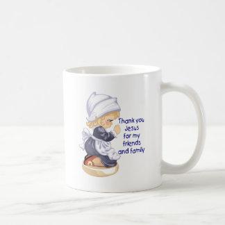 Pilgrim girl praying to Jesus Coffee Mug