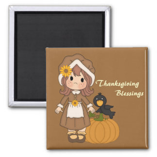 Pilgrim Girl Thanksgiving Magnet