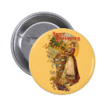 Pilgrim Girl with Victorian Style 2 Inch Round Button