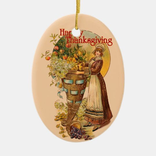 Pilgrim Girl with Victorian Style Ceramic Ornament