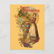 Pilgrim Girl with Victorian Style Holiday Postcard