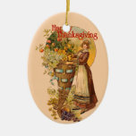Pilgrim Girl with Victorian Style Double-Sided Oval Ceramic Christmas Ornament