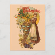 Pilgrim Girl with Victorian Style Postcard