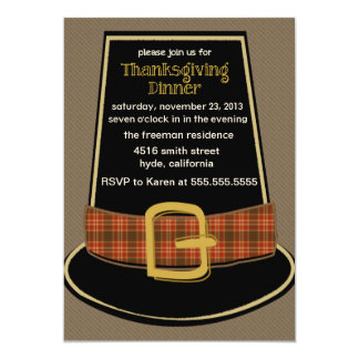 "Pilgrim Hat Thanksgiving Invitation 5"" X 7"" Invitation Card"
