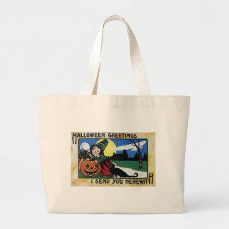 Pilgrim Kids, Cat & JOL Vintage Halloween Large Tote Bag