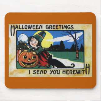 Pilgrim Kids, Cat & JOL Vintage Halloween Mouse Pad