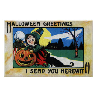 Pilgrim Kids, Cat & JOL Vintage Halloween Poster