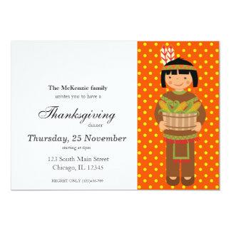 Pilgrim Kids Thanksgiving dinner Card