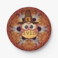 Pilgrim Owl Happy Thanksgiving paper plates 7 Inch Paper Plate