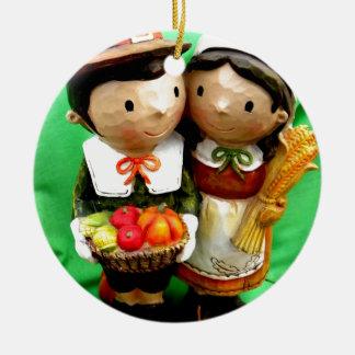 Pilgrim Pair Ceramic Ornament