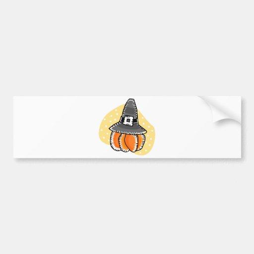 pilgrim pumpkin car bumper sticker