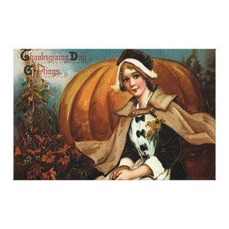 Pilgrim Pumpkin Fall Leaves Canvas Print