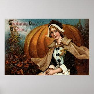 Pilgrim Pumpkin Fall Leaves Poster