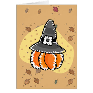 pilgrim pumpkin greeting cards