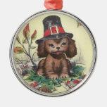 Pilgrim Puppy Thanksgiving Round Metal Christmas Ornament