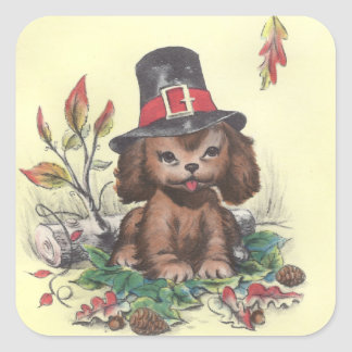 Pilgrim Puppy Thanksgiving Square Sticker