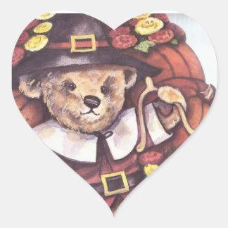 Pilgrim Teddy Bear Heart Sticker