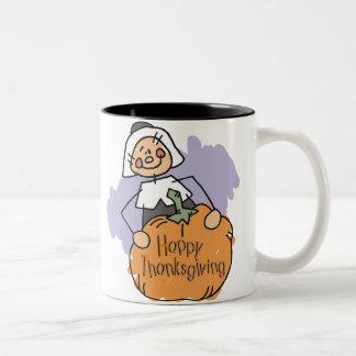 Pilgrim Thanksgiving Decoration Two-Tone Coffee Mug