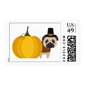 Pilgrim Thanksgiving Pug Postage