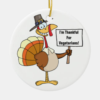 Pilgrim Turkey Sign Double-Sided Ceramic Round Christmas Ornament