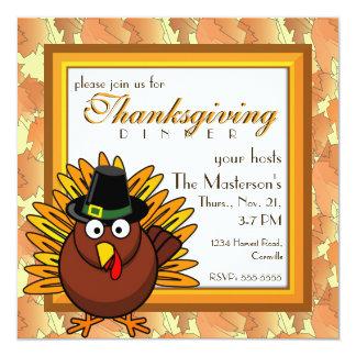 Pilgrim Turkey Thanksgiving Dinner Party Card