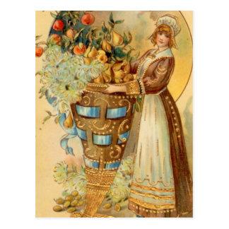 Pilgrim With Harvest Horn Post Cards