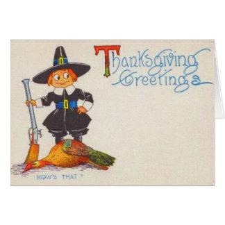 Pilgrim With Turkey Card