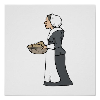 Pilgrim woman with food poster
