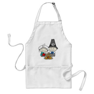 Pilgrims and baby Turkey for Thanksgiving Apron