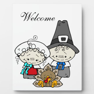 Pilgrims and baby Turkey for Thanksgiving Plaque